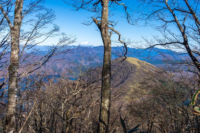 眼下の竜ヶ岳と本栖湖を眺めながら急降下