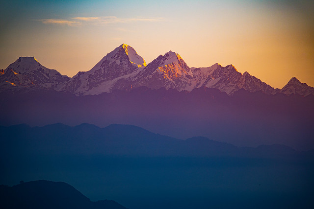 Sunrise over the Himalayas, Chisapani, Nepal