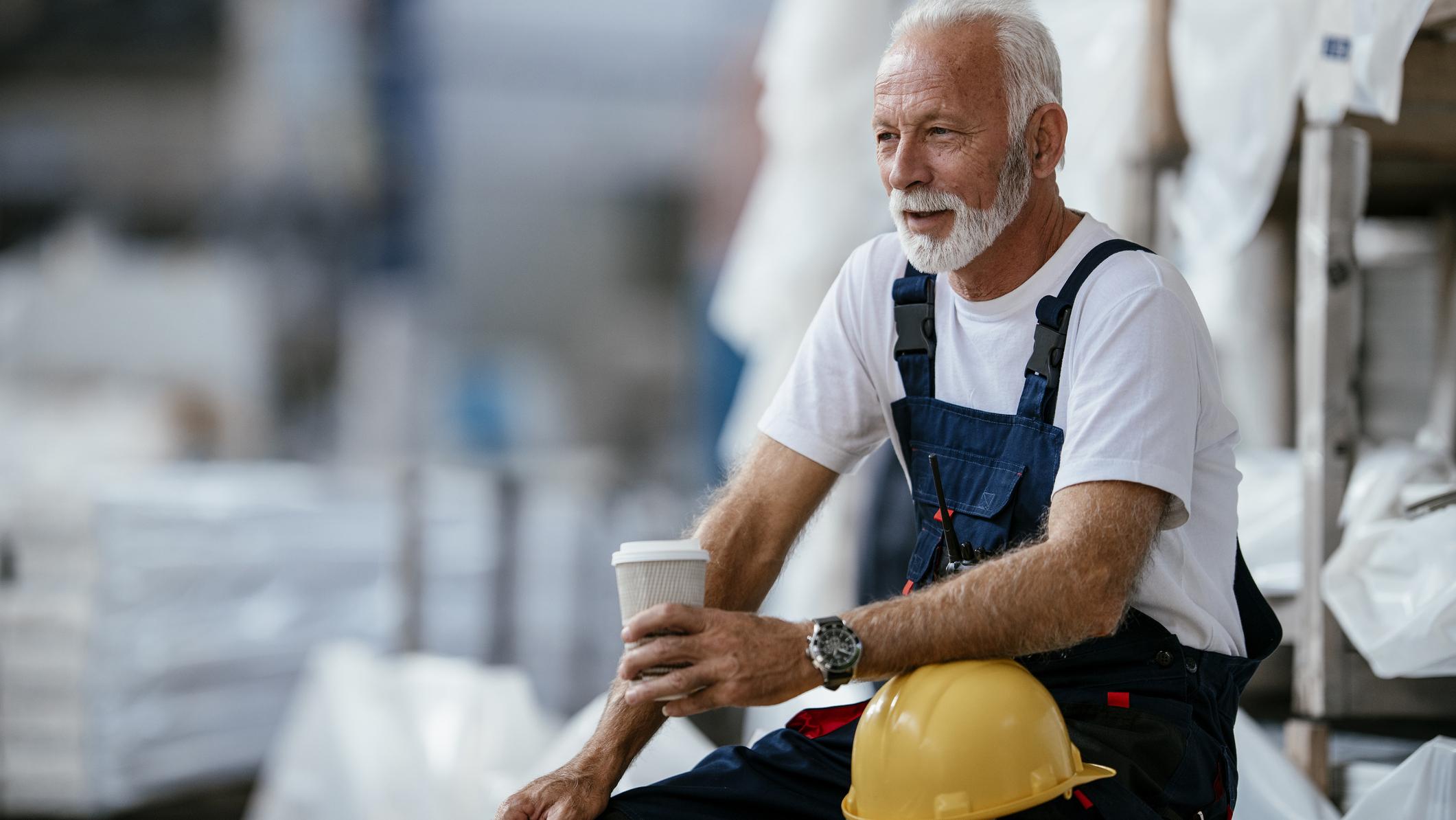 Retirement age man at work