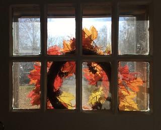 Fall wreath on the front door