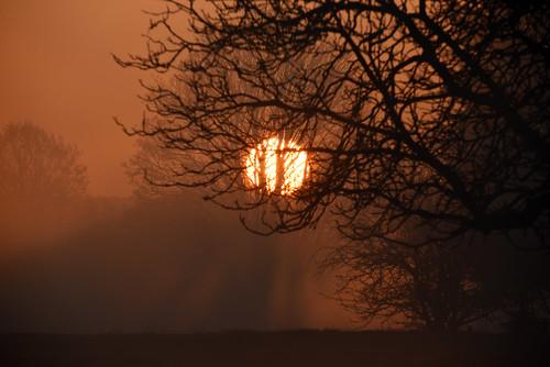 woughton green milton keynes buckinghamshire december 2019 cold misty morning dawn sunrise