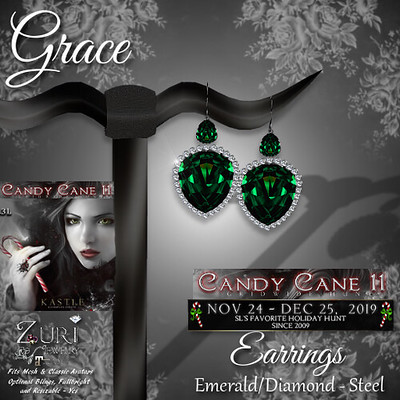 CCHunt-Zuri's Grace Earrings - EmeraldDiamond - Steel