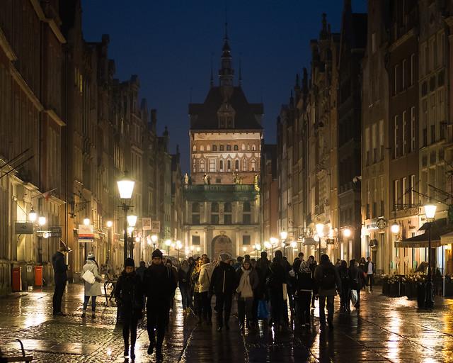 Długa at night, Gdansk