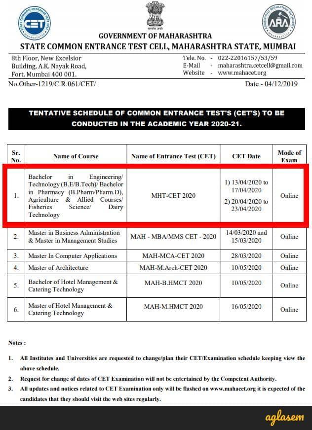 MHT CET 2020 exam date