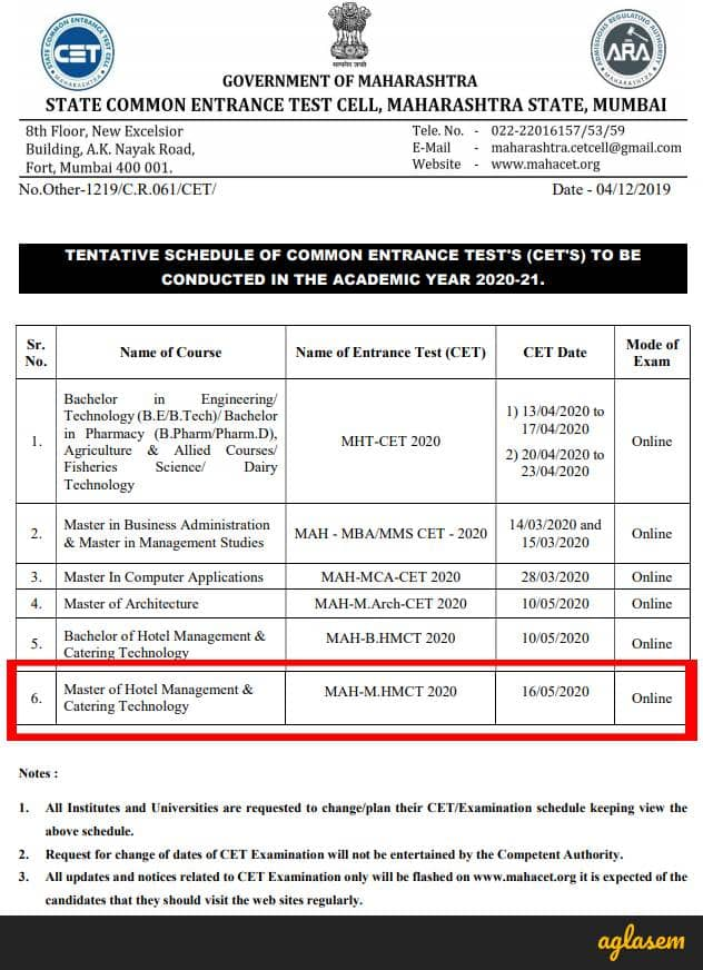 MAH M.HMCT CET 2020 Exam Date Announced; Exam To Be Held On 16 May