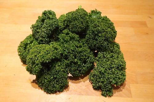 Grünkohl für Kale Chips (zwei Tage zuvor auf dem Markt erworben)
