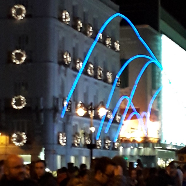 Illuminated Arches, seen from Puerta  del Sol Madrid: