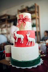 Christmas cake with deer decoration