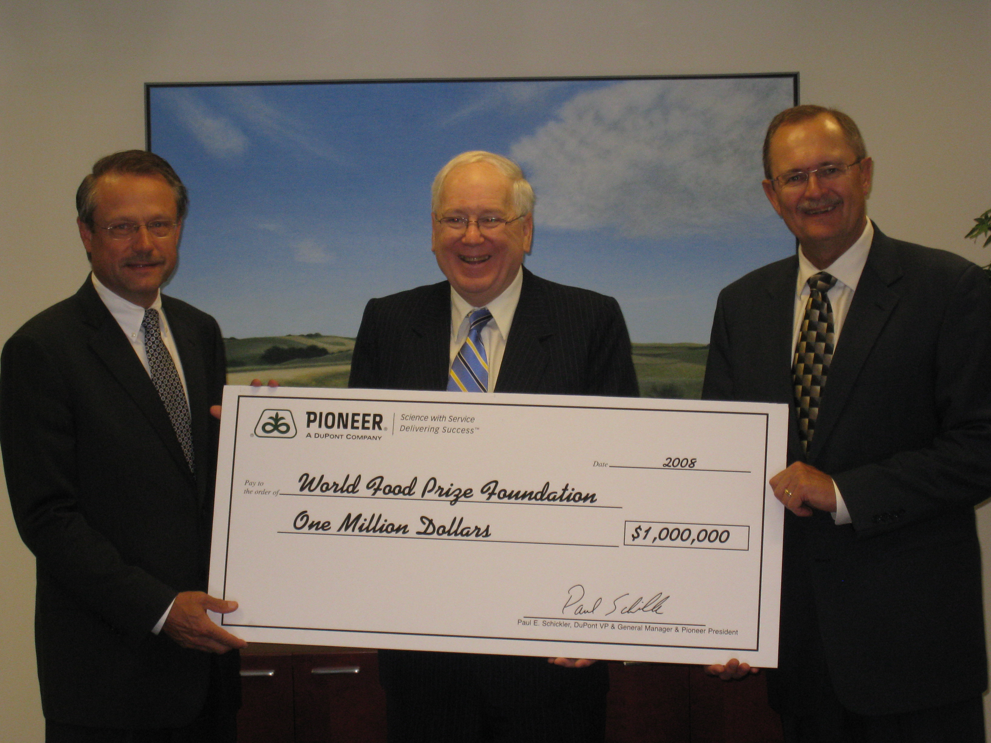 Pioneer Check for the World Food Prize