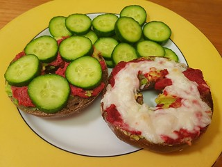 Rye and Sunflower Seed Bagel, avocado, Beetrood Horseradish pate, cucumber, sheese