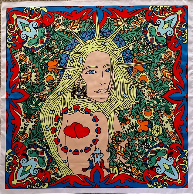 The women's scarf with goddess Lada (my artwork)