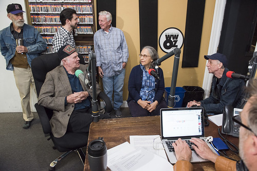 Larry Schleuter, Neil Pellegrin talks to Jivin' Gene, Steve Armbruster, Hazel the Delta Rambler, Jerry Brock at WWOZ's 39th birthday - Dec. 4, 2019. Photo by Ryan Hodgson-Rigsbee rhrphoto.com.