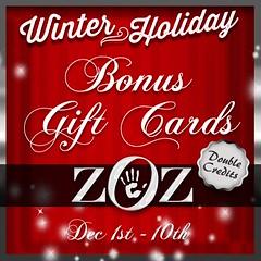 ZOZ V2 Winter gift card sale 2019