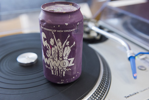 Shaking the can at WWOZ's 39th birthday - Dec. 4, 2019. Photo by Ryan Hodgson-Rigsbee rhrphoto.com.