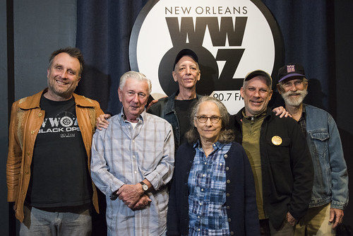 The morning crew at WWOZ's 39th birthday: George Ingmire, Jivin' Gene, Jerry Brock, Hazel the Delta Rambler, Charlie Schleuter, Larry Schleuter - Dec. 4, 2019. Photo by Ryan Hodgson-Rigsbee rhrphoto.com.