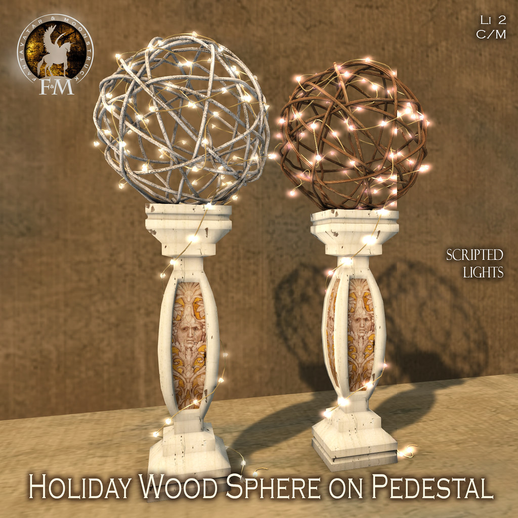 F&M Holiday Wood Sphere on Pedestal