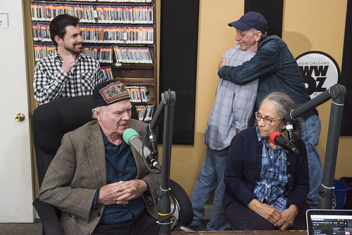 Neil Pellegrin, Steve Armbruster, Jerry Brock hugs Jivin' Gene, Hazel the Delta Rambler at WWOZ's 39th birthday - Dec. 4, 2019. Photo by Ryan Hodgson-Rigsbee rhrphoto.com.