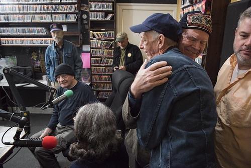 Steve Armbruster hugs Jerry Brock at WWOZ's 39th birthday - Dec. 4, 2019. Photo by Ryan Hodgson-Rigsbee rhrphoto.com.