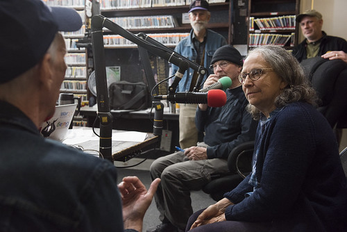 Hazel the Delta Rambler and The Governor listening closely to Jerry Brock at WWOZ's 39th birthday - Dec. 4, 2019. Photo by Ryan Hodgson-Rigsbee rhrphoto.com.