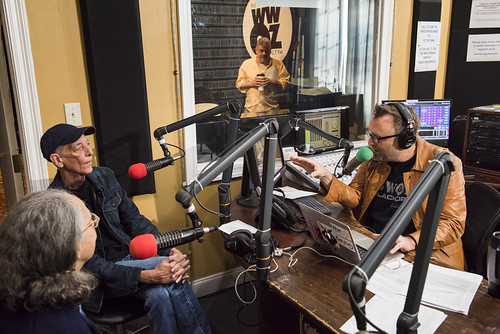 Jerry Brock and George Ingmire as Dave Ankers listens in from the other room at WWOZ's 39th birthday - Dec. 4, 2019. Photo by Ryan Hodgson-Rigsbee rhrphoto.com.