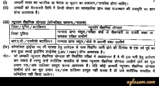Rajasthan police educational qualification