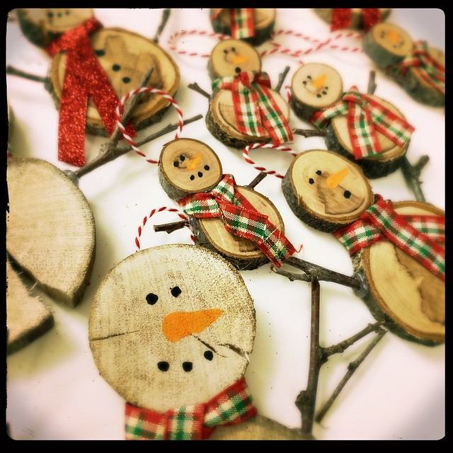 Wooden Snowmen Ornaments