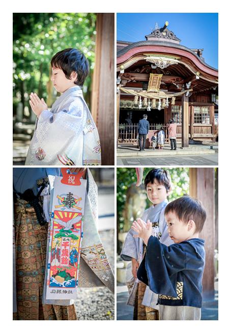 田縣神社で七五三(愛知県小牧市) ご祈祷後本殿前でお参りする子供