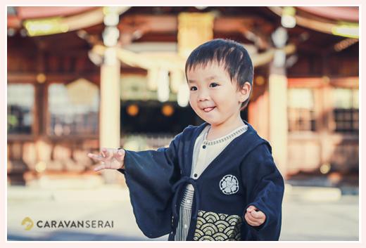 田縣神社で七五三(愛知県小牧市) 自由人の数えで3歳の男の子