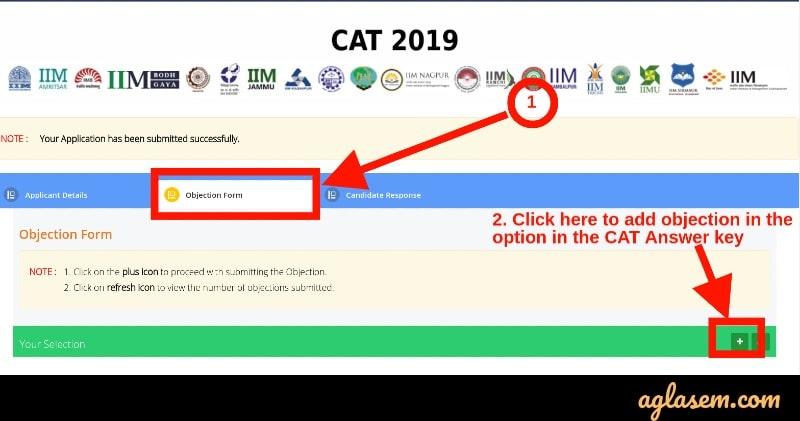 CAT 2019 answer key obejction