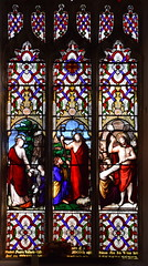 St Mary Magdalene meets the Risen Christ, Christ with St Peter: 'feed my sheep', St Thomas meets the Risen Christ (Charles Clutterbuck, 1858)
