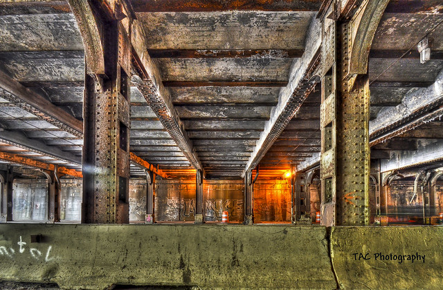 under the railway in Detroit