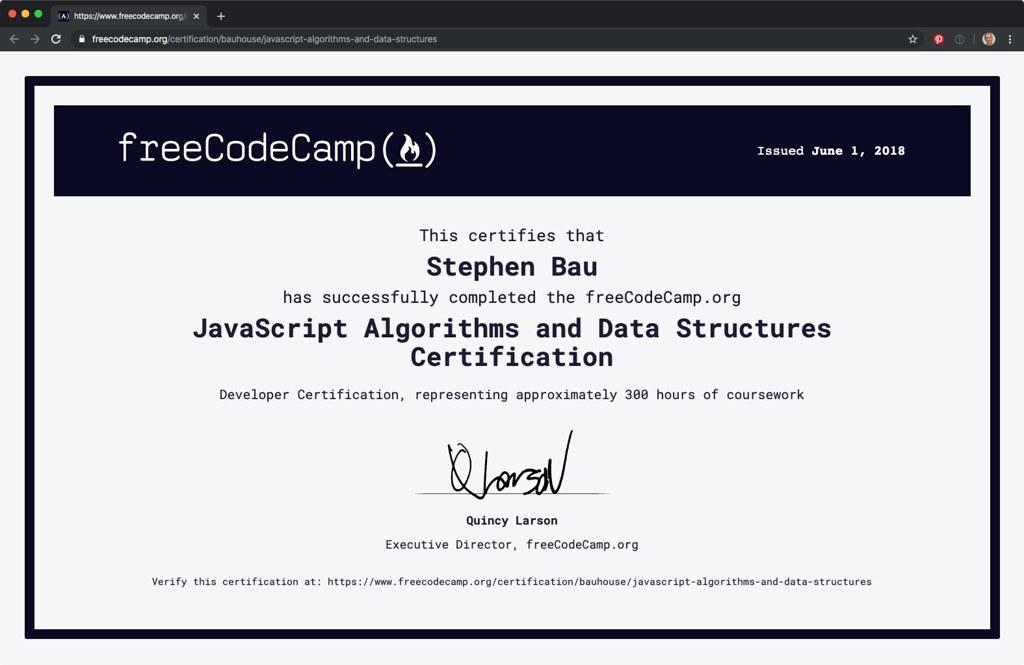 JavaScript Algorithms and Data Structures Certification