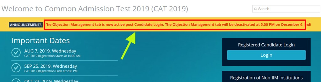 CAT 2019 objection