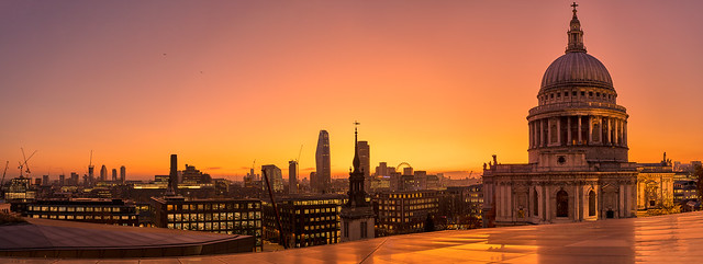 Sunset over St Paul's Cathedral and City of London