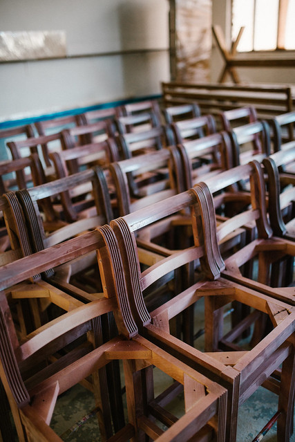 Sorten wooden chairs in workshop. Manufacture of chairs from natural wood.
