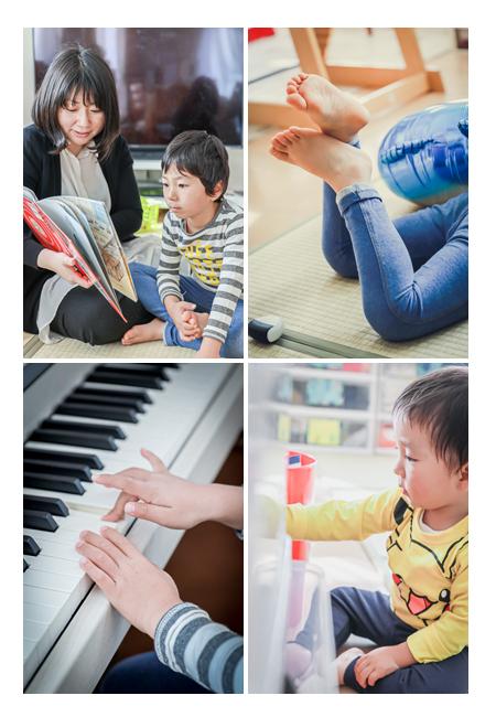自宅でくつろぐ家族の日常 絵本 ピアノ おもちゃ