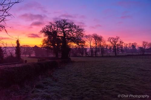 Vivid sunrise on a crisp December morning