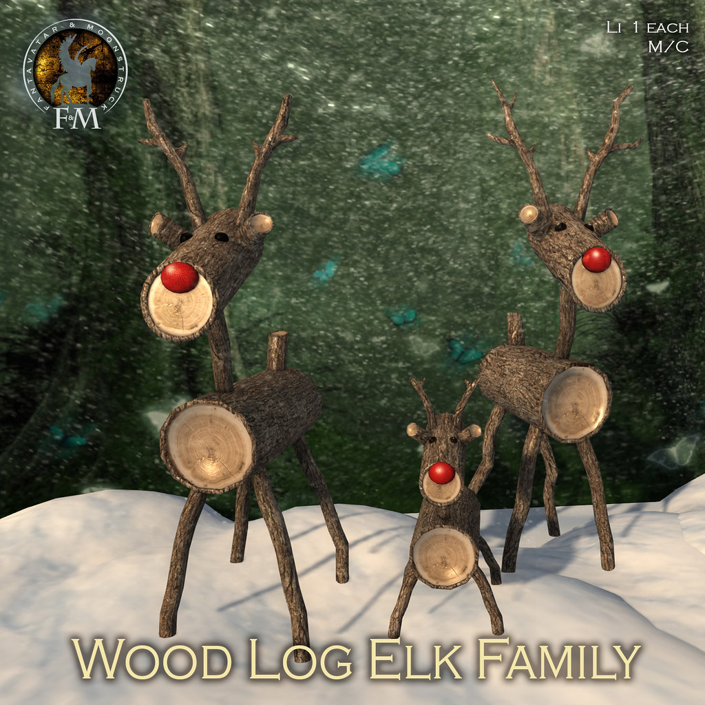 F&M Wood Log Elk Family