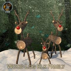 F&M Wood Log Elk Family