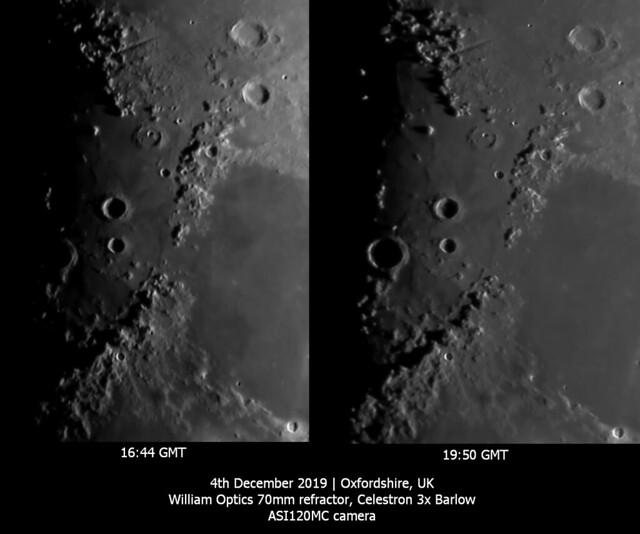 Evolution of Lunar Mountain Shadows 04/12/19