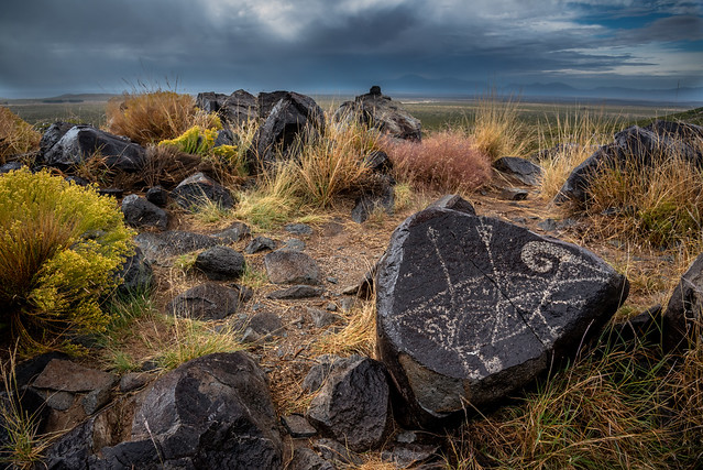 Petroglyphs and Stormy Skies