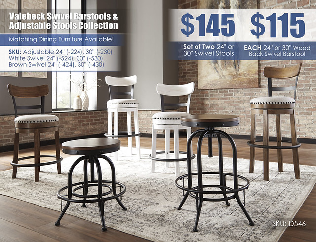 Valebeck Swivel Barstool and Adjustable Stool Collection_D546-224-230-424-430-524-530