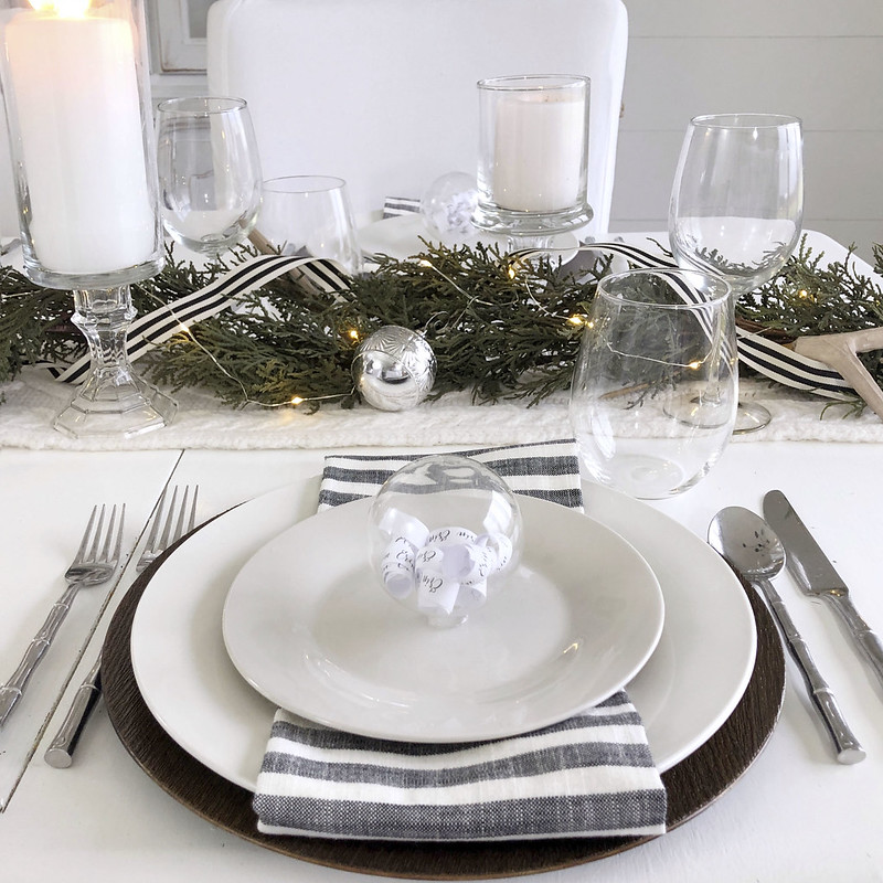 Neutral Holiday Table Setting