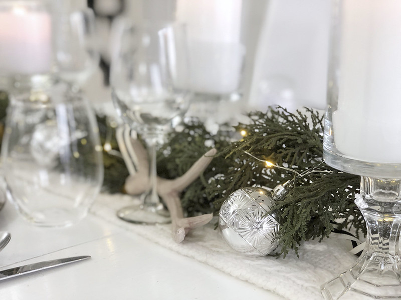 Christmas Table Decor Lights Ornaments