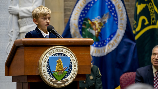 Asher Dean, New Mexico fourth grader and 2019 U.S. Capitol Christmas Tree Essay Contest winner sharing his essay