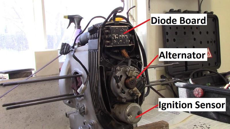 Diode Board, Alternator, Ignition Sensor Are Inside Front Engine Cover