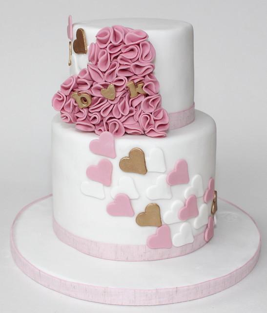 cascading ruffle heart cake
