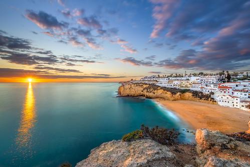 sunset beach seascape carvoeiro algarve portugal sea coast