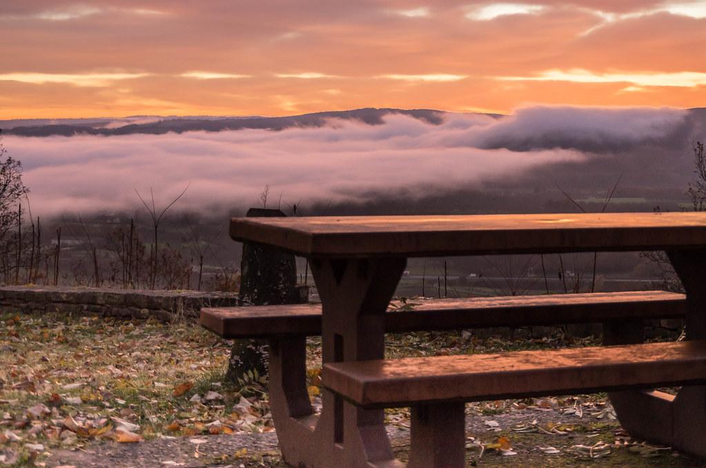 Brumes matinales sur la vallée de la Dordogne