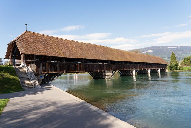 Wooden Bridge over River Aare